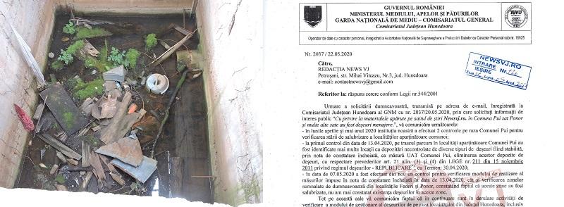 Garda de Mediu a constatat că sunt deșeuri în Comuna Pui