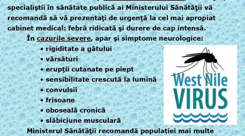 Evoluția infecției cu virus West Nile