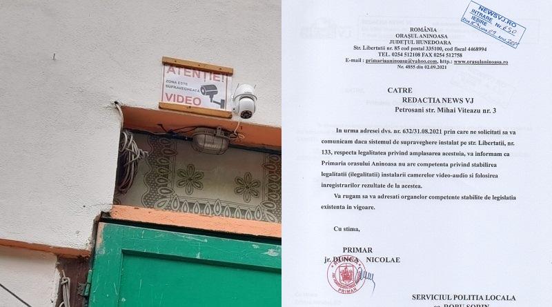 Primăria Aninoasa nu autorizează cameră de supraveghere audio-video.